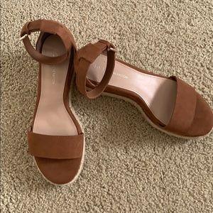 BCBG brand new never worn tan Addie Wedges